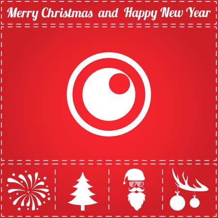 Peephole Icon Vector. And bonus symbol for New Year - Santa Claus, Christmas Tree, Firework, Balls on deer antlers Illustration