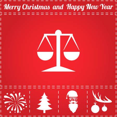 symbol for New Year - Santa Claus, Christmas Tree, Firework, Balls on deer antlers