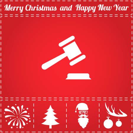 法律のアイコン ベクトル。鹿の角の新年 - サンタ クロース、クリスマス ツリー、花火、ボールのボーナス記号  イラスト・ベクター素材