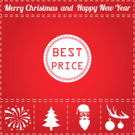 symbol for New Year - Santa Claus, Christmas Tree, Firework, Balls on deer antlers
