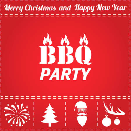 BBQ Icon Vector. And bonus symbol for New Year - Santa Claus, Christmas Tree, Firework, Balls on deer antlers