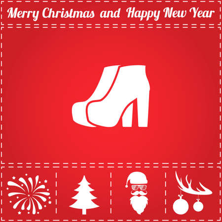Shoes Icon Vector. And bonus symbol for New Year - Santa Claus, Christmas Tree, Firework, Balls on deer antlers