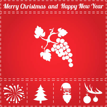 Grapes Icon Vector. And bonus symbol for New Year - Santa Claus, Christmas Tree, Firework, Balls on deer antlers