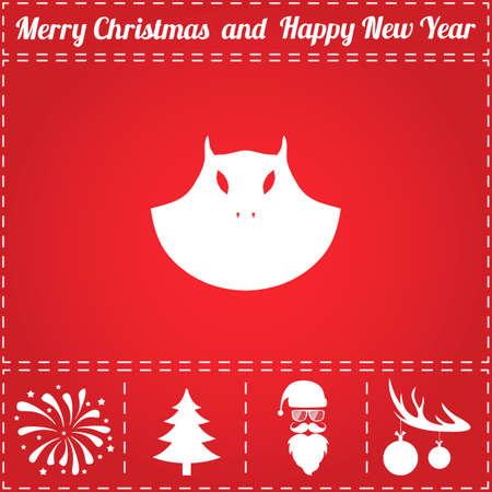 悪アイコン ベクトル。鹿の角の新年 - サンタ クロース、クリスマス ツリー、花火、ボールのボーナス記号 写真素材 - 90359535