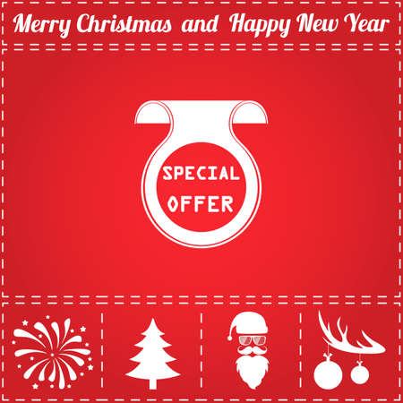 Offer Icon Vector. And bonus symbol for New Year - Santa Claus, Christmas Tree, Firework, Balls on deer antlers