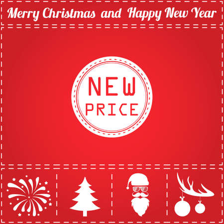 Price Icon Vector. And bonus symbol for New Year - Santa Claus, Christmas Tree, Firework, Balls on deer antlers