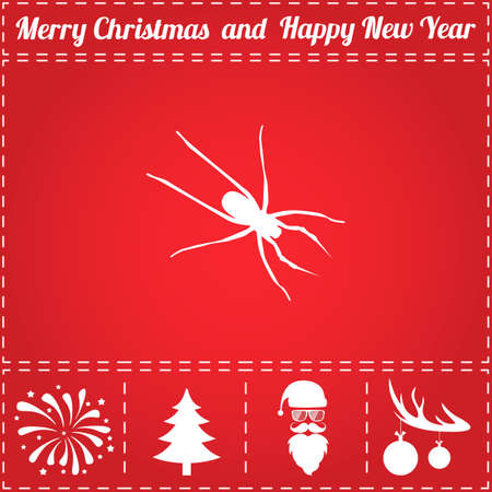 Spider Icon Vector. And bonus symbol for New Year - Santa Claus, Christmas Tree, Firework, Balls on deer antlers Ilustração