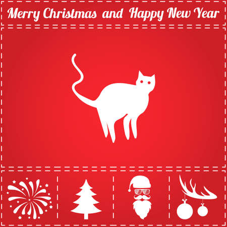 Cat Icon Vector. And bonus symbol for New Year - Santa Claus, Christmas Tree, Firework, Balls on deer antlers Stock Vector - 90359540