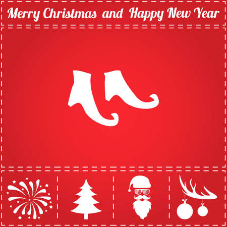 Boots Icon Vector. And bonus symbol for New Year - Santa Claus, Christmas Tree, Firework, Balls on deer antlers Illustration