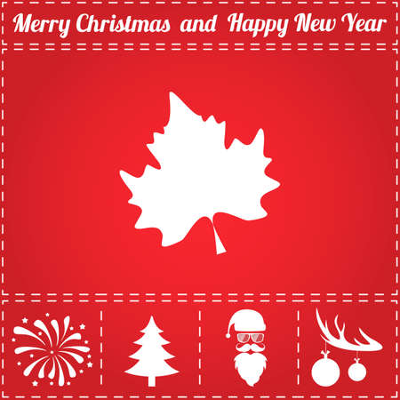 Maple Icon Vector. And bonus symbol for New Year - Santa Claus, Christmas Tree, Firework, Balls on deer antlers