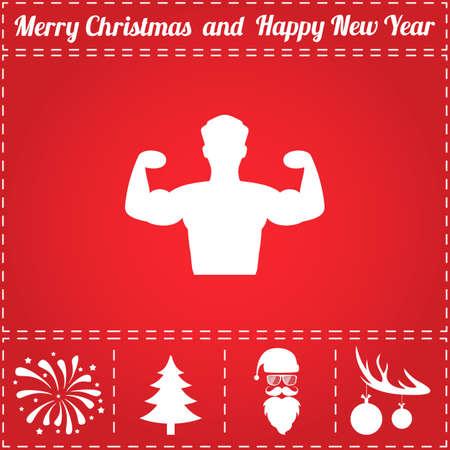 Krachtige Icon Vector. En bonussymbool voor Nieuwjaar - Santa Claus, Kerstboom, Vuurwerk, Ballen op hertengewei
