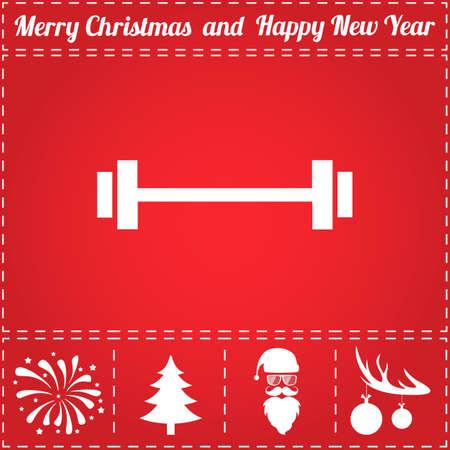 Gym Icon Vector. En bonussymbool voor Nieuwjaar - Santa Claus, Kerstboom, Vuurwerk, Ballen op hertengewei