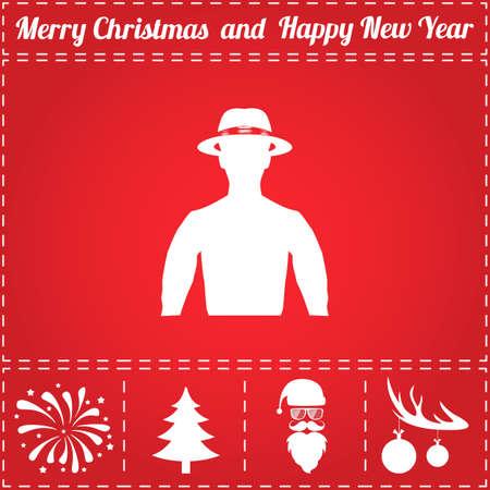 Avatar Icon Vector. And bonus symbol for New Year - Santa Claus, Christmas Tree, Firework, Balls on deer antlers Illustration