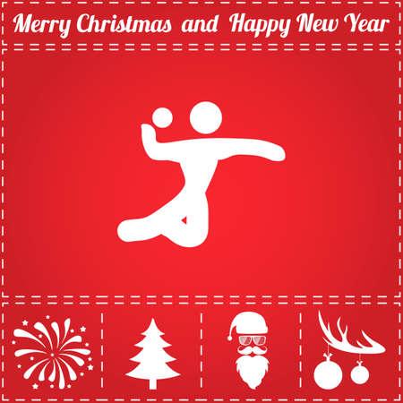 Volleyball icône vecteur. Et symbole de bonus pour le nouvel an - Santa Claus, arbre de Noël, feu d'artifice, boules sur les bois de cerf