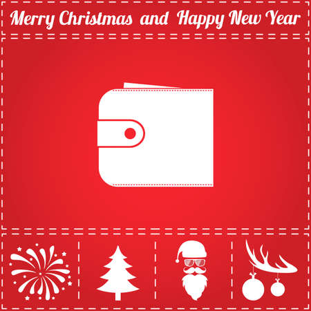 Wallet Icon Vector. And bonus symbol for New Year - Santa Claus, Christmas Tree, Firework, Balls on deer antlers