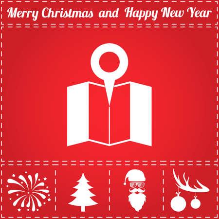 マップピン アイコン ベクトル。鹿の角の新年 - サンタ クロース、クリスマス ツリー、花火、ボールのボーナス記号  イラスト・ベクター素材