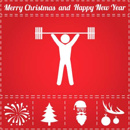 Powerlifter pictogram Vector. En bonussymbool voor Nieuwjaar - Santa Claus, Kerstboom, Vuurwerk, Ballen op hertengewei