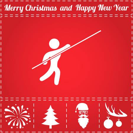 Athlete Icon Vector. And bonus symbol for New Year - Santa Claus, Christmas Tree, Firework, Balls on deer antlers