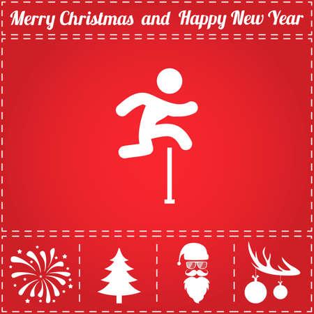 Jumping Icon Vector. En bonussymbool voor Nieuwjaar - Santa Claus, Kerstboom, Vuurwerk, Ballen op hertengewei