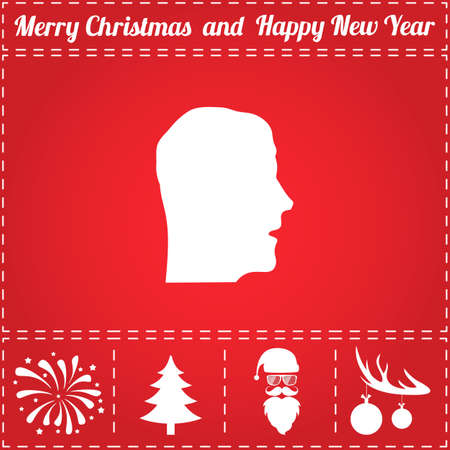 Face Icon Vector. And bonus symbol for New Year - Santa Claus, Christmas Tree, Firework, Balls on deer antlers