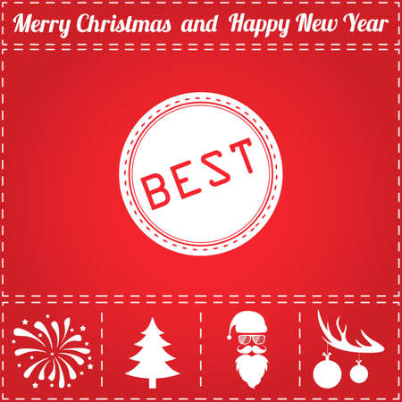 Best Icon Vector. And bonus symbol for New Year - Santa Claus, Christmas Tree, Firework, Balls on deer antlers Illustration