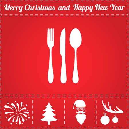 Cutlery Icon Vector. And bonus symbol for New Year - Santa Claus, Christmas Tree, Firework, Balls on deer antlers