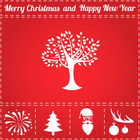 Tree Icon Vector. And bonus symbol for New Year - Santa Claus, Christmas Tree, Firework, Balls on deer antlers Иллюстрация