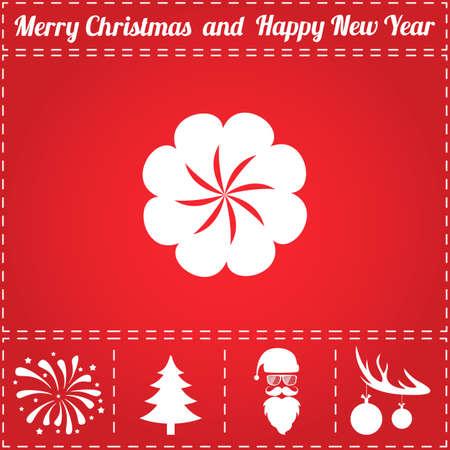 Flower Icon Vector. And bonus symbol for New Year - Santa Claus, Christmas Tree, Firework, Balls on deer antlers