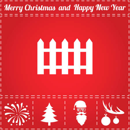 Fence Icon. And bonus symbol for New Year - Santa Claus, Christmas Tree, Firework, Balls on deer antlers