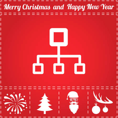 Computer network Icon. And bonus symbol for New Year - Santa Claus, Christmas Tree, Firework, Balls on deer antlers