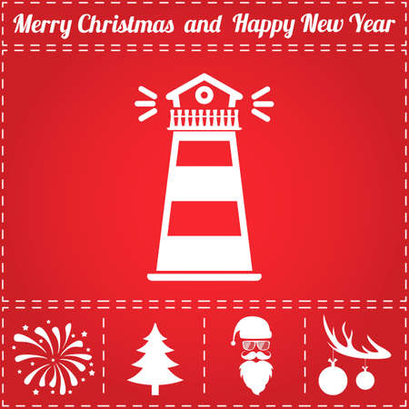Lighthouse Icon Vector. And bonus symbol for New Year - Santa Claus, Christmas Tree, Firework, Balls on deer antlers