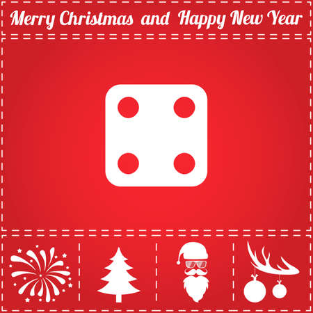 Dice Icon Vector. And bonus symbol for New Year - Santa Claus, Christmas Tree, Firework, Balls on deer antlers