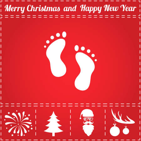 Footprints Icon Vector. And bonus symbol for New Year - Santa Claus, Christmas Tree, Firework, Balls on deer antlers Illustration