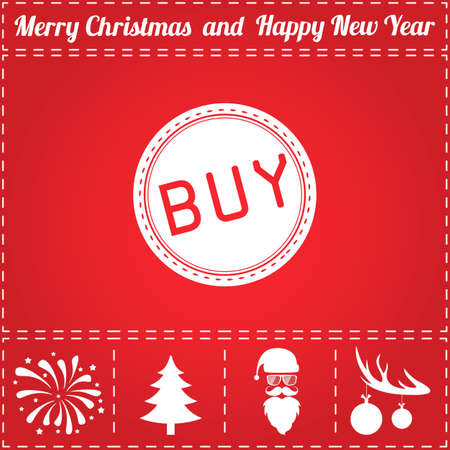 Buy Icon Vector. And bonus symbol for New Year - Santa Claus, Christmas Tree, Firework, Balls on deer antlers