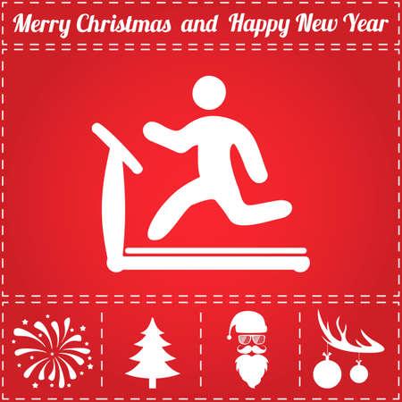 Loopband Icon Vector. En bonussymbool voor Nieuwjaar - Santa Claus, Kerstboom, Vuurwerk, Ballen op hertengewei