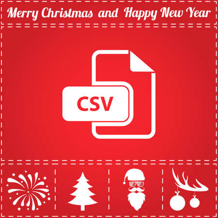 CSV Icon Vector. And bonus symbol for New Year - Santa Claus, Christmas Tree, Firework, Balls on deer antlers Illustration