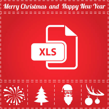 XLS Icon Vector. And bonus symbol for New Year - Santa Claus, Christmas Tree, Firework, Balls on deer antlers