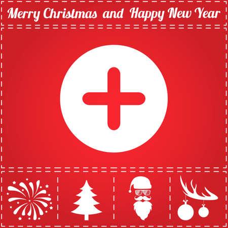 Plus Icon Vector. And bonus symbol for New Year - Santa Claus, Christmas Tree, Firework, Balls on deer antlers Illustration