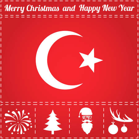 Islam Icon Vector. And bonus symbol for New Year - Santa Claus, Christmas Tree, Firework, Balls on deer antlers Vectores