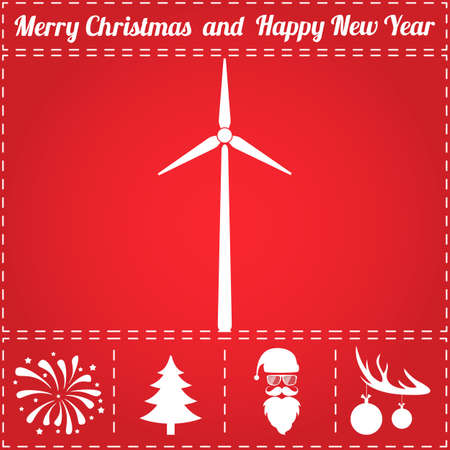 Wind power Icon. And bonus symbol for New Year - Santa Claus, Christmas Tree, Firework, Balls on deer antlers