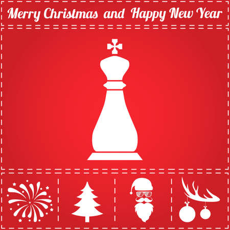 Chess Icon Vector. And bonus symbol for New Year - Santa Claus, Christmas Tree, Firework, Balls on deer antlers Illustration