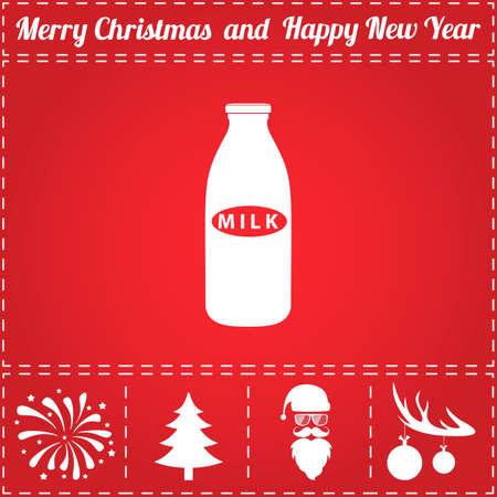 Milk Icon. And bonus symbol for New Year - Santa Claus, Christmas Tree, Firework, Balls on deer antlers