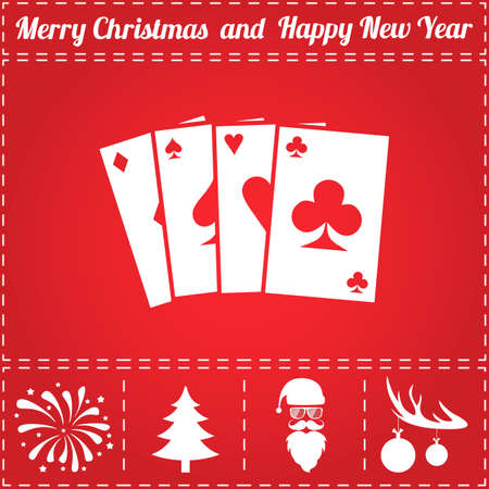 Poker Icon Vector. And bonus symbol for New Year - Santa Claus, Christmas Tree, Firework, Balls on deer antlers Illusztráció