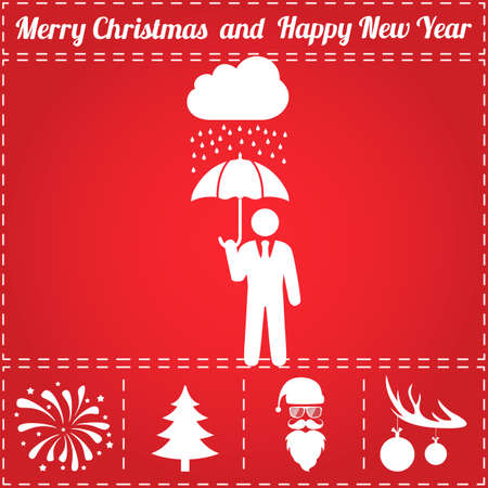 Protect Icon Vector. And bonus symbol for New Year - Santa Claus, Christmas Tree, Firework, Balls on deer antlers