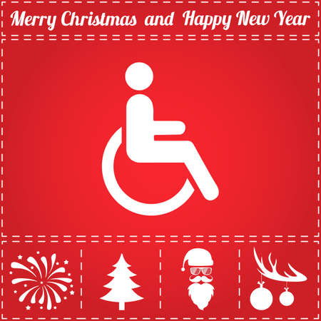 Cripple Icon Vector. And bonus symbol for New Year - Santa Claus, Christmas Tree, Firework, Balls on deer antlers