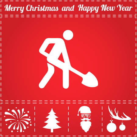 Building works Icon Vector. And bonus symbol for New Year - Santa Claus, Christmas Tree, Firework, Balls on deer antlers Illustration