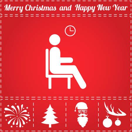 アイコンを待ちます。鹿の角の新年 - サンタ クロース、クリスマス ツリー、花火、ボールのボーナス記号