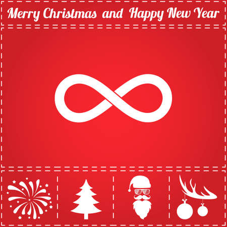 Infinity Icon Vector. And bonus symbol for New Year - Santa Claus, Christmas Tree, Firework, Balls on deer antlers Illusztráció