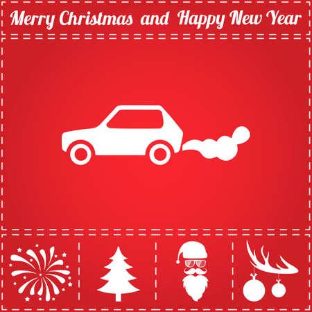 Car smoke Icon Vector. And bonus symbol for New Year - Santa Claus, Christmas Tree, Firework, Balls on deer antlers Illustration