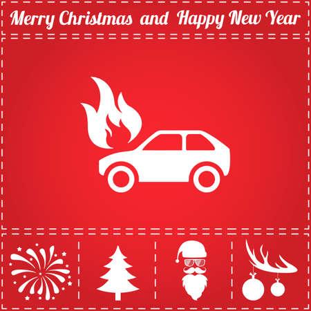 Car fire Icon. And bonus symbol for New Year - Santa Claus, Christmas Tree, Firework, Balls on deer antlers Illustration